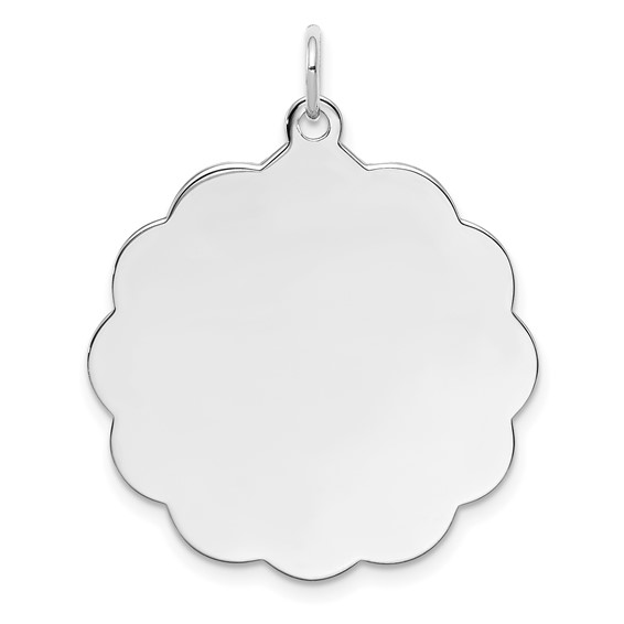 Sterling Silver Engravable Clover Disc Charm 1in