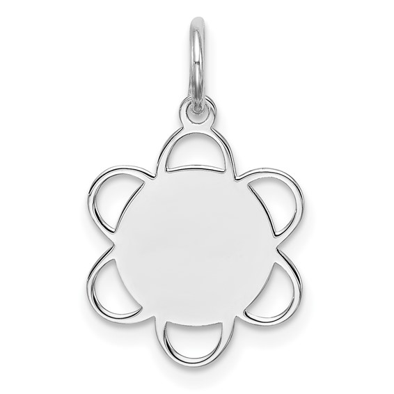 Sterling Silver Engravable Charm with Scalloped Border 1/2in