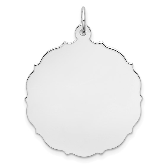 Sterling Silver 1in Engravable Pointed Disc Charm