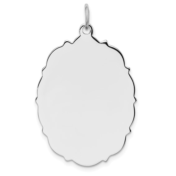 Sterling Silver Engravable Tufted Oval Pendant 1 1/4in