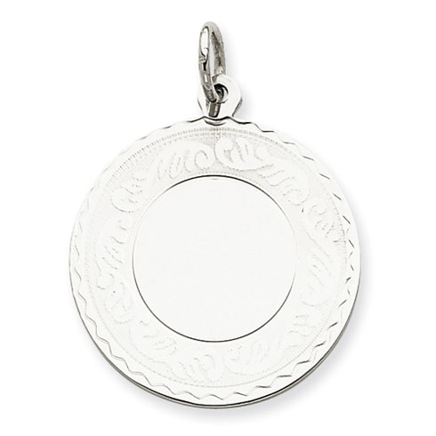 Sterling Silver Engravable Round with Scroll Disc Charm