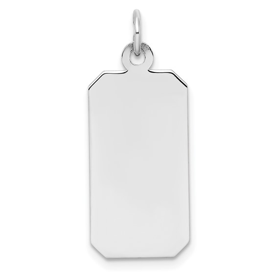 Sterling Silver 7/8in Engravable Rectangle Disc Charm with Cut Corners
