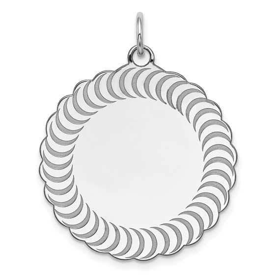 Sterling Silver Engravable Scalloped Patterned Charm