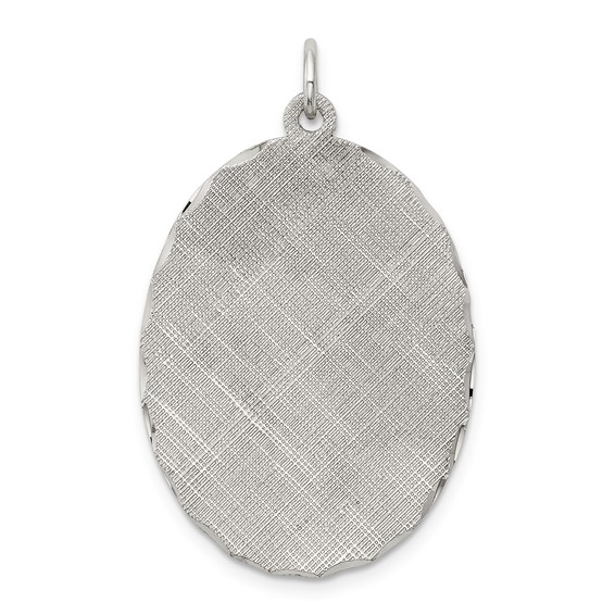 Engravable Patterned Charm 1 1/8in - Sterling Silver