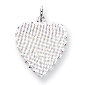 Sterling Silver Engravable Heart Patterned Pendant 7/8in