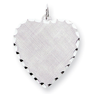 Sterling Silver Engravable Heart Patterned Disc Charm