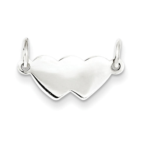 Sterling Silver Engravable Double Heart Plate Charm