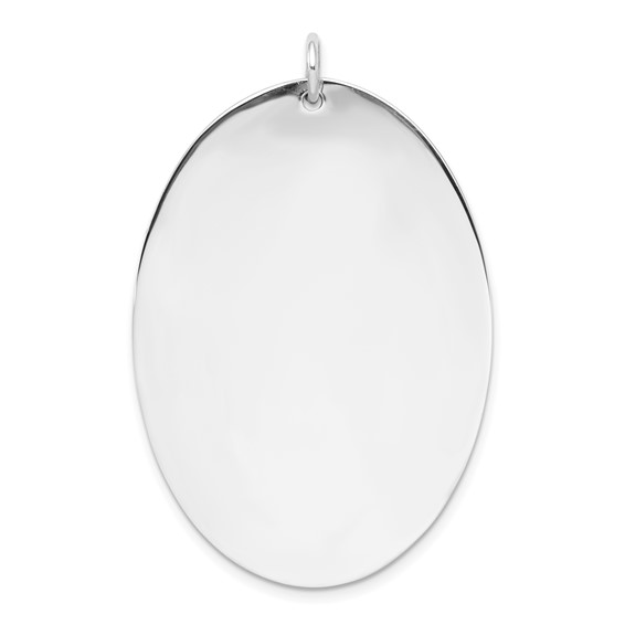 Sterling Silver Engravable Oval Pendant 1 3/4in