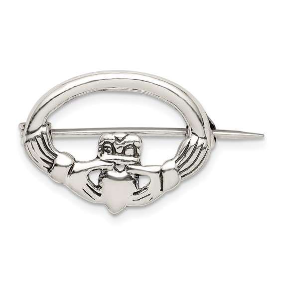 7/8in Claddagh Pin - Sterling Silver