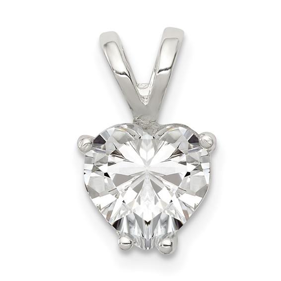 Sterling Silver Heart CZ Pendant