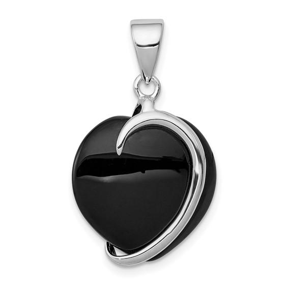 Sterling Silver Onyx Heart Pendant