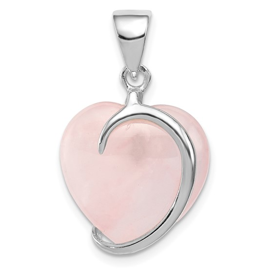 Sterling Silver 3/4in Rose Quartz Heart Pendant