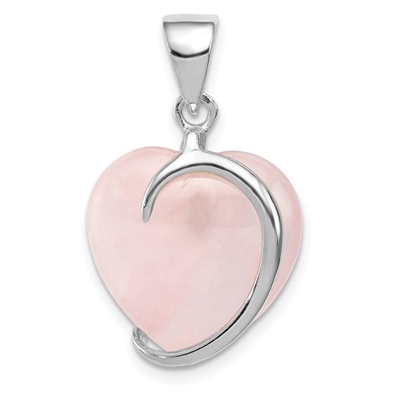 Sterling Silver 3/4in Rose Quartz Heart Pendant