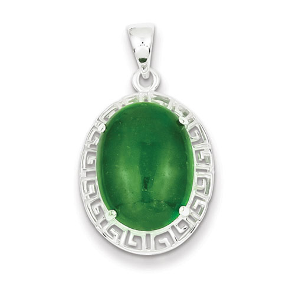 Sterling Silver Jade Greek Key Pendant