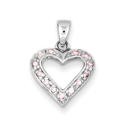 Sterling Silver Pink CZ Heart Pendant
