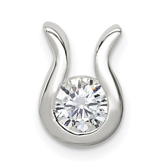 Sterling Silver CZ Pendant with U Shaped Bezel
