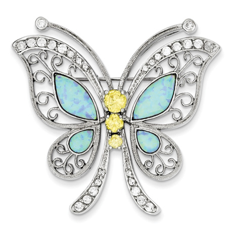 Sterling Silver Blue Opal with Yellow and Clear CZ Butterfly Pin