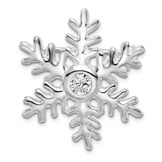 Sterling Silver CZ Snowflake Pin and Pendant