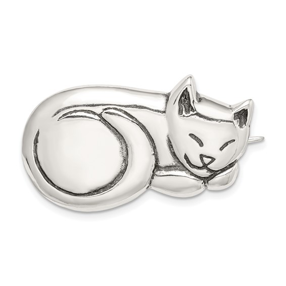 Antiqued Sleeping Cat Pin 3/4in - Sterling Silver