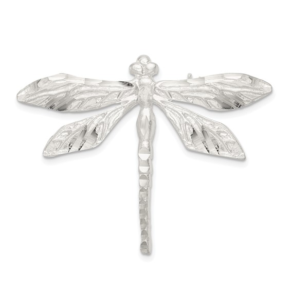 Sterling Silver Satin Finish Diamond Cut Dragonfly Pin