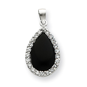 Sterling Silver CZ and Onyx Teardrop Pendant