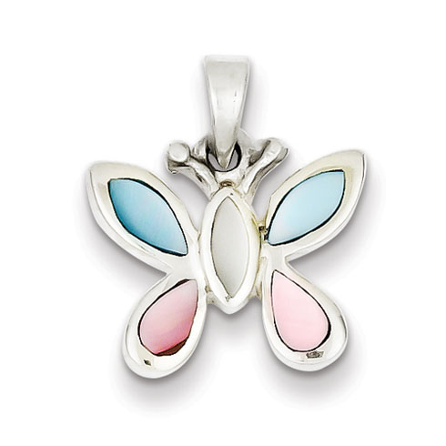 Sterling Silver Pink White and Blue Shell Butterfly Pendant