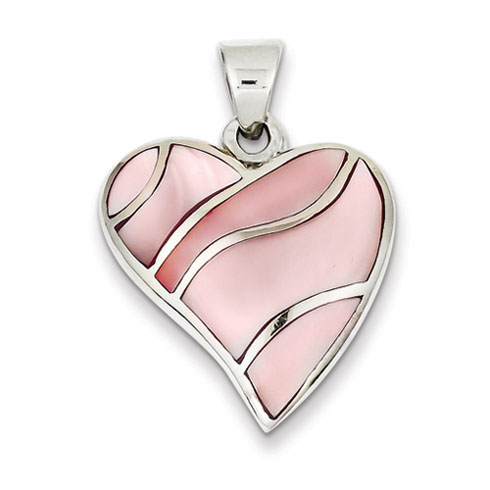 Sterling Silver Pink Stone Heart Pendant