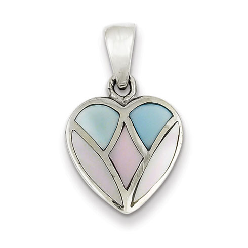 Sterling Silver Pink Blue and White Shell Heart Pendant