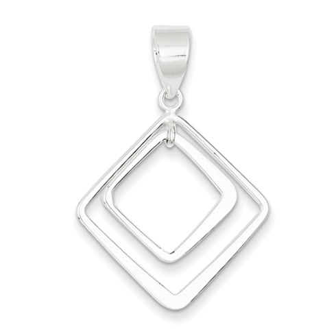 1in Sterling Silver Diamond Shape Pendant