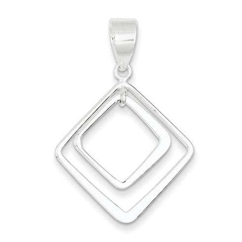 1in Sterling Silver Diamond Shape Pendant