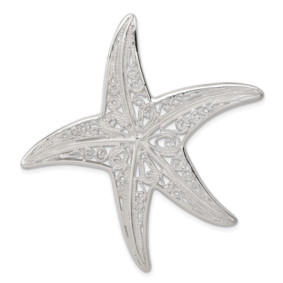 Sterling Silver 2in Fancy Starfish Pendant