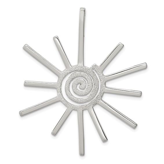 Sterling Silver 2in Fancy Sun Pendant