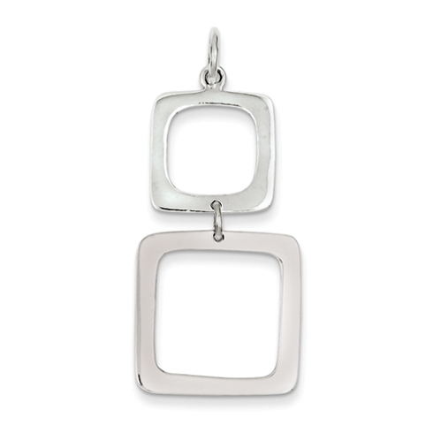Sterling Silver Graduated Squares Dangle Pendant