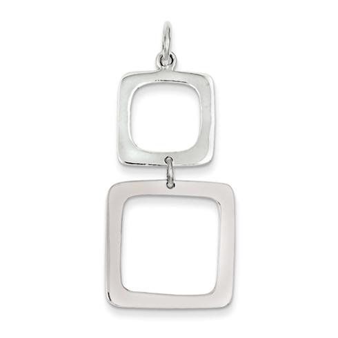 Sterling Silver Graduated Squares Dangle Pendant