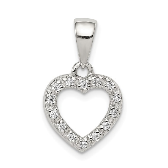 Sterling Silver CZ Heart Shape Pendant