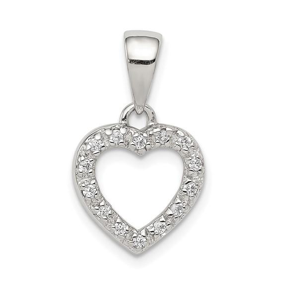 Sterling Silver CZ Heart Shape Pendant