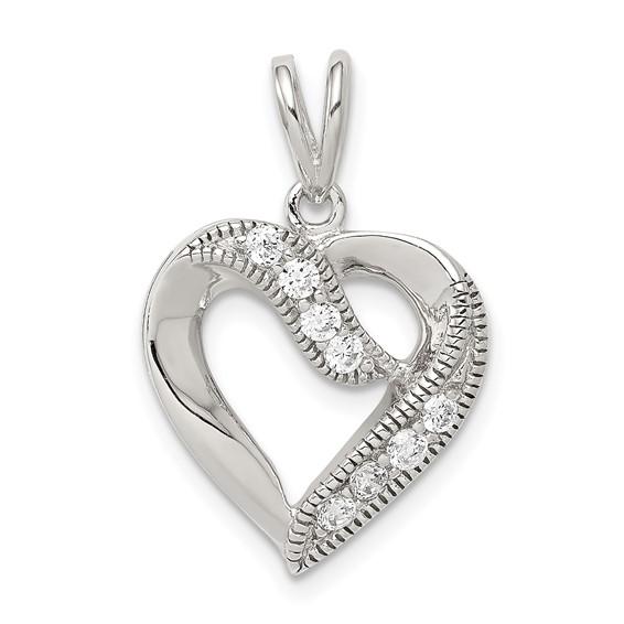 Sterling Silver Cubic Zirconia Open Heart Pendant 5/8in