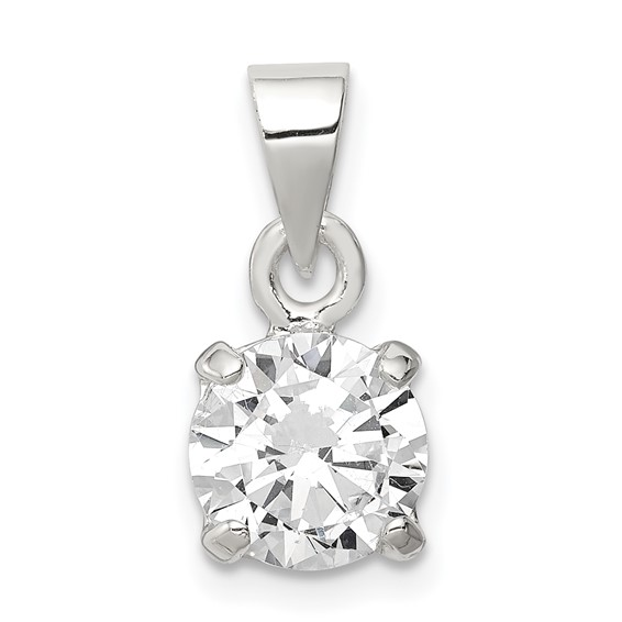 Sterling Silver 8mm CZ Solitaire Pendant