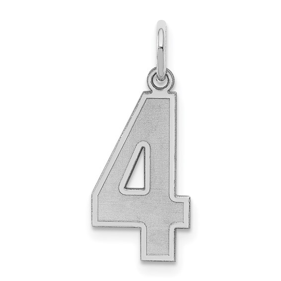Sterling Silver Medium Satin Number 4