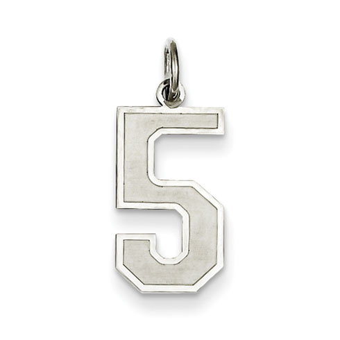 Sterling Silver Medium Satin Number 5