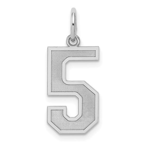 Sterling Silver Medium Satin Number 5