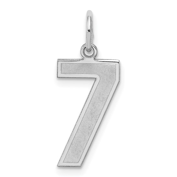 Sterling Silver Medium Satin Number 7 Pendant