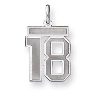 Sterling Silver Medium Satin Number 18