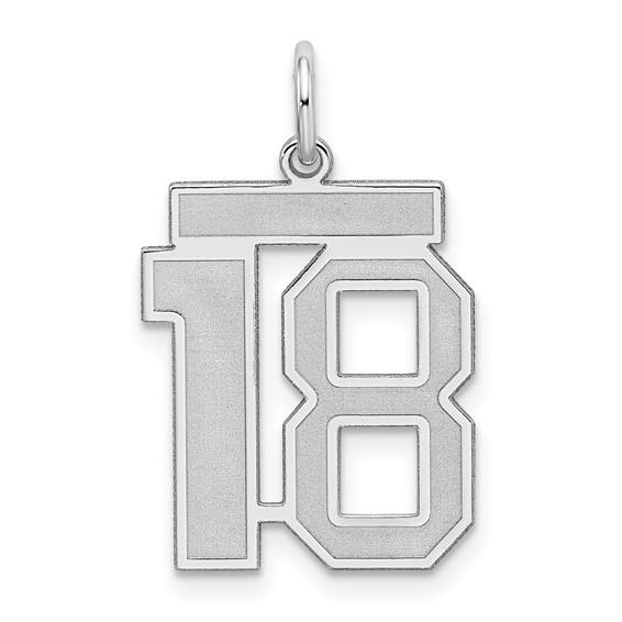 Sterling Silver Medium Satin Number 18