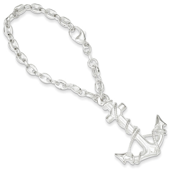 Sterling Silver Anchor Key Ring