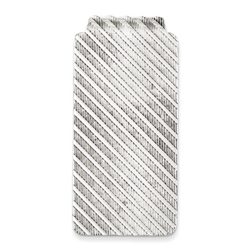 Sterling Silver Striped Textured Money Clip