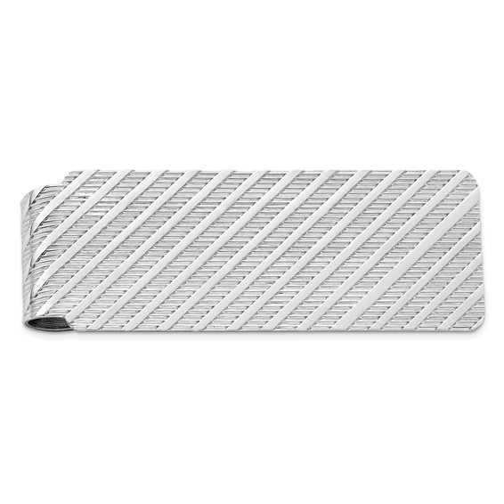Sterling Silver Money Clip with Diagonal Marks
