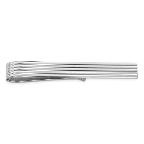 Sterling Silver Tie Bar with Grooves
