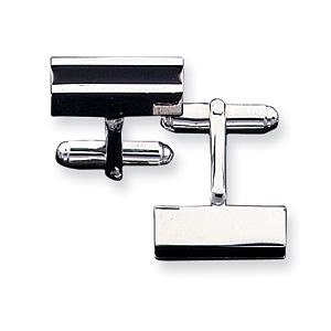 Sterling Silver Black Enameled Cufflinks