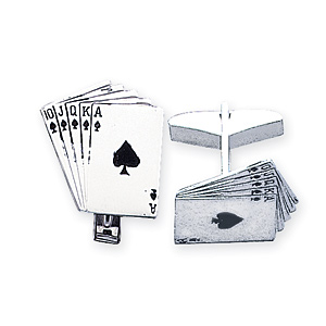Sterling Silver Royal Flush Cufflinks